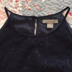 NWOT luxurious St Tropez lined lace navy blouse
